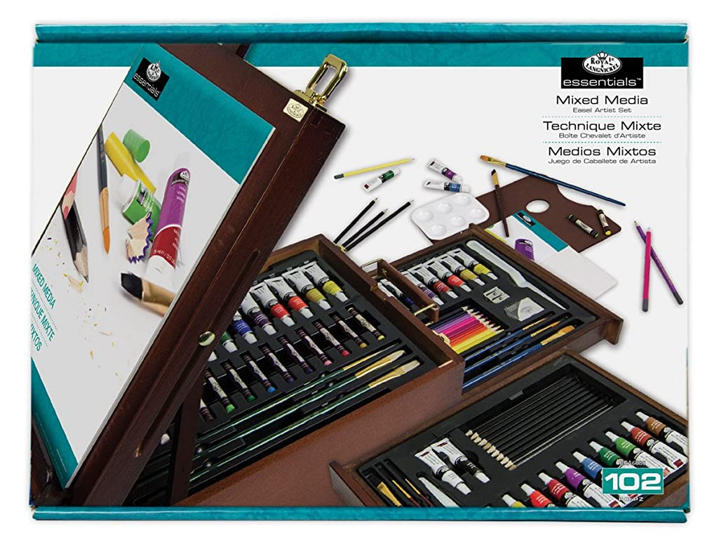 R and L 108-Piece Mixed Media Dark Easel Set