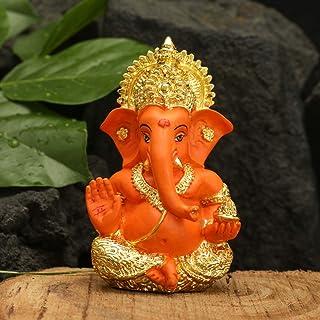 CraftVatika Gold Plated Red Terracotta Ganesha Statue God Ganesh Ganpati Sitting Idol Car Dashboard Gifts Home Decor (Size...