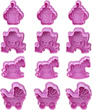 VALICLUD 12pcs Cookie Cutter Molds Plastic Cartoon Biscuit Molds Hand Press Fondant Pastry Baking Mold for Chocolate Polym...