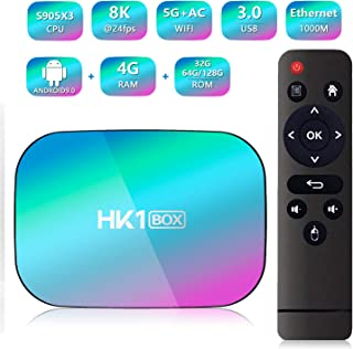 HK1 Box Android 9.0 Smart TV Box Amlogic S905X3 CPU 4GB RAM 64GB 2.4G+5G WiFi 1000M BT4.0 8K Smart Media Player for Netflix YouTube