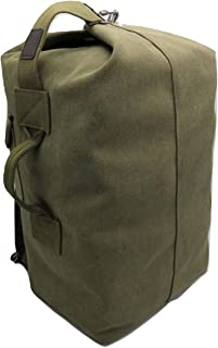 Canvas Backpack Large Capacity Duffel Bag Outdoors Sports Gym Bag Hiking Camping traveling Backpack for Men (Dark Green, L...