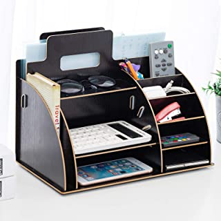 10 Compartments Wood Desk Office Supplies Organizer, Large Capacity for Table Accessories, Pen, Files, Stationary Items, All in One Design Storage for Office, Home, Teacher, Student (Black)