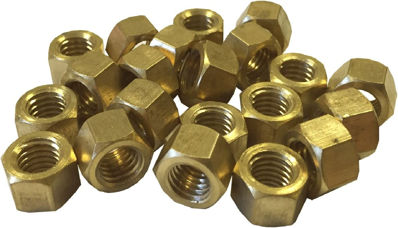 Smarthome 20 x Brass Exhaust Imperial Manifold Nuts 1//4 UNF High Temperature