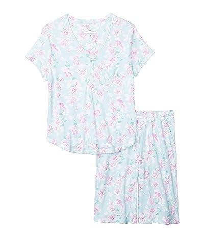Karen Neuburger Sky and Forest Short Sleeve Bermuda Pajama (Floral Sage) Women