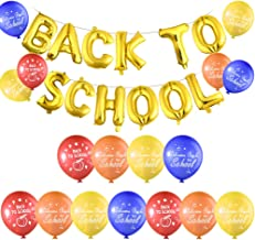 FEPITO Back to School Balloon Banner with 40Pcs Welcome Back to School Latex Balloons for First Day of School Decorations, Classroom Party Supplies
