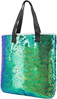 Orfila Fashion Two Tone Reversible Sequin Tote Bag PU Leather Handbag Glitter Paillette Shoulder Bag for Women