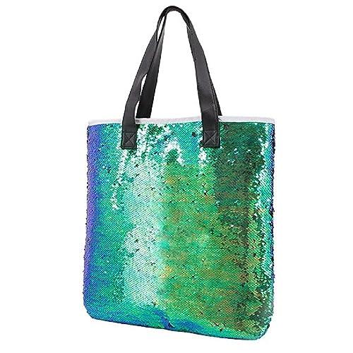 b6514d83ac Orfila Fashion Two Tone Reversible Sequin Tote Bag PU Leather Handbag  Glitter Paillette Shoulder Bag for