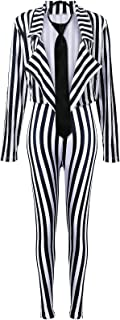 Women's Black White Vertical Striped Kit Include Blazer...