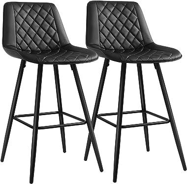 SONGMICS Lot de 2 Chaises de bar, Tabourets hauts, Siège de cuisine, cadre en métal, avec dossier et siège rembourré, repose-
