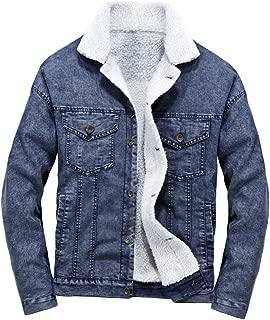 Men's Denim Fleece Jacket Winter Button Down Fur Collar Jeans Coat