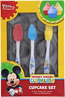 Kids Disney Junior Mickey Mouse Clubhouse Bakeware, 4-Pc. Cupcake Set with Supplies: Baking Tray, Spatula, Spoon, and Baking Brush