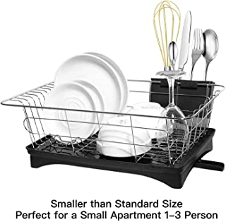 Maypott Dish Drying Rack, Sink Dish Drainer with Drain Board Premium Stainless Steel for Kitchen Dish Racks 16.7 x11.2 x5.9IN