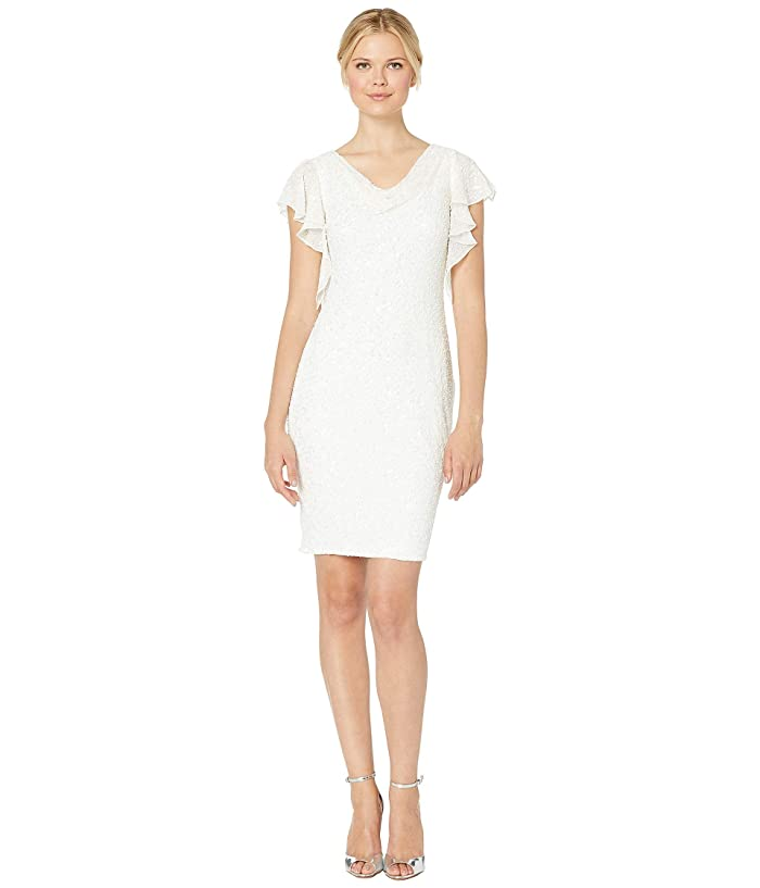 Adrianna Papell Beaded Flutter Sleeve Cocktail Dress (Ivory) Women