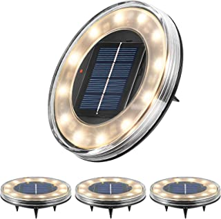 [Newest] Litake Solar Ground Lights Outdoor Solar Lights Warm White-4 Pack, IP68 Waterproof Bright 12 led Beads In-Ground ...