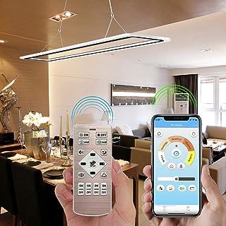 EYLM Lámpara de techo con luz LED regulable, luces colgantes de luz de lámpara ajustable en altura, con aplicación móvil y control remoto para el comedor, sala, oficina, cocina, restaurante