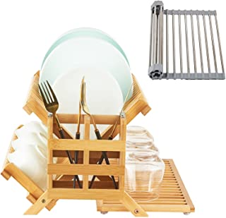 WORTHUG Bamboo Dish Drying Rack Set, 1 of 3-Tier Wooden Collapsible Drainer Dish Drying Rack,1 of Utensil Holder,1 of Mult...