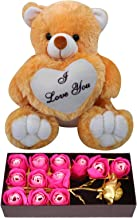 Natali Valentine Day Love Gift - Artificial Pink Rose with 12Pcs Scented Roses Box & Love Scroll Card - Love Gift for Girlfriend-Wife-Fiancee-Girls (Brown)