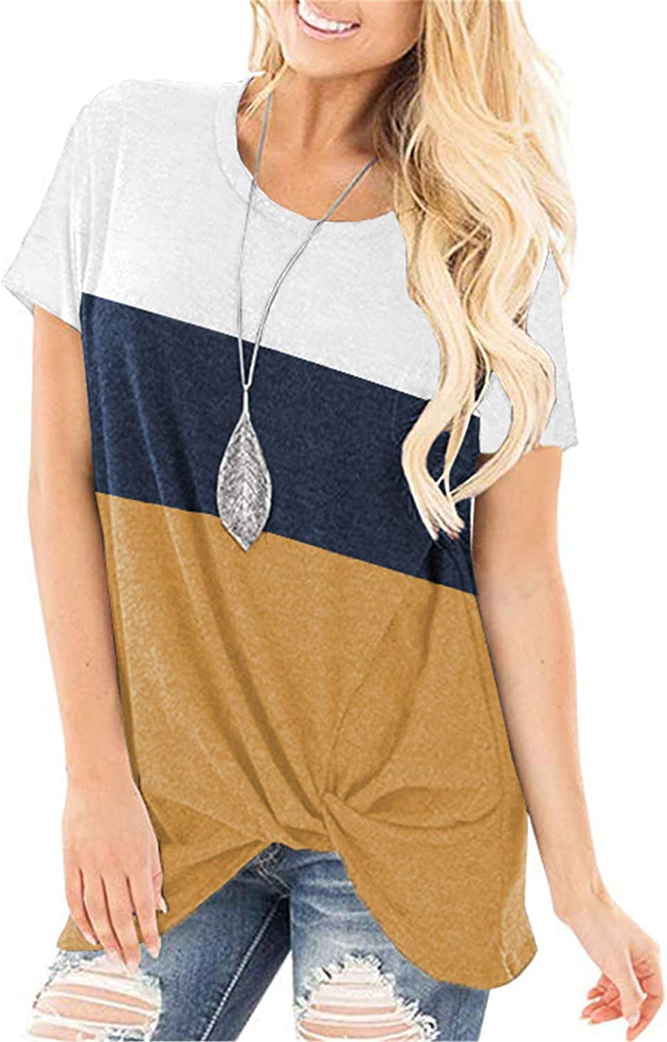 Short Sleeve Tops for Women Side Knotted Tie at The Bottom Tshirts Wash Well Loose Fit Blouse