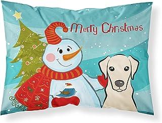 Caroline's Treasures BB1842PILLOWCASE Snowman with Yellow Labrador Fabric Standard Pillowcase, Large, Multicolor