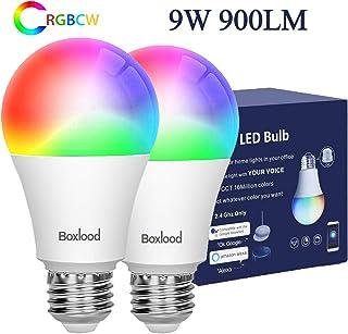 لامپ های لامپ Boxlood Smart WiFi سازگار با دستیار IFTTT در گوگل ، هیچ هاب مورد نیاز ، 9W (80W تعویض) ، E26 Base ، A19 ، 2700K-6500K و چند لامپ LED Dimmable Multicolor Dimmable، 2 Pack