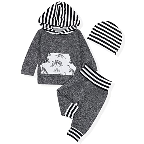 d8c98912b Baby Boy Girl Clothes Long Sleeve Hoodie Sweatshirt with Striped Pants 2Pcs Outfit  Set