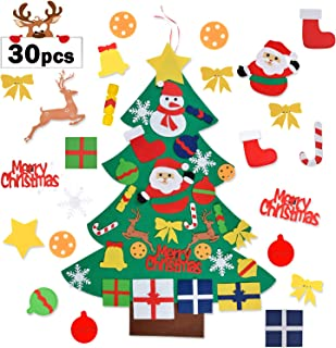 Aniwon Felt Christmas Tree, Xmas DIY Christmas Tree Door Wall Decoration with 30PCS Detachable Ornaments for Kids