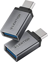LENTION USB-C to USB 3.0 Adapter, Convert Type-C to Type-A Compatible MacBook Pro 13/15 (Thunderbolt 3 Port), 2018 2019 Mac Air/iPad Pro, Surface Book 2/Go, More (2 Pack, Dark Gray)