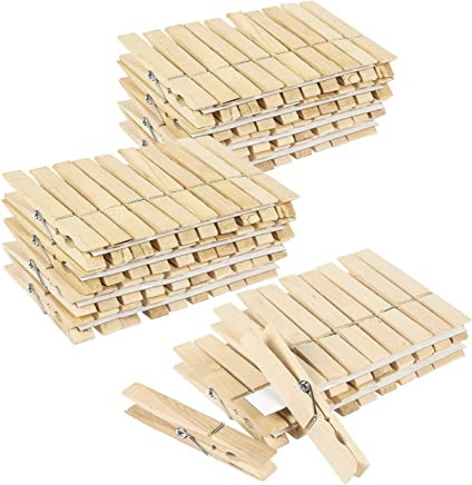Juvale 100 Pack - Wooden Clothespins - Large Clothes Pegs Laundry, Arts, Crafts, Decoration, 4 x .5 x .5 inches