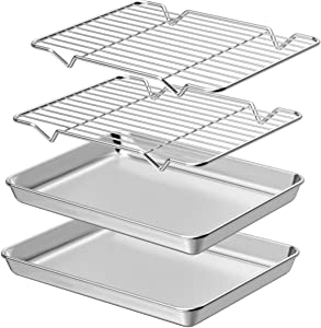 Wildone Baking Sheet with Rack Set [2 Sheets + 2 Racks], Stainless Steel Cookie Pan baking Tray with Cooling Rack, Size 9 x 7 x 1 Inch, Non Toxic & Heavy Duty & Easy Clean