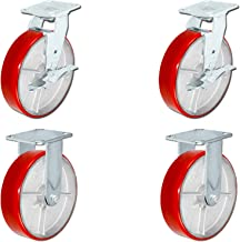 8 inch x 2 inch Heavy Duty Caster Set with Red Polyurethane on Steel Wheels, 1,250 pounds Capacity per Caster, 8