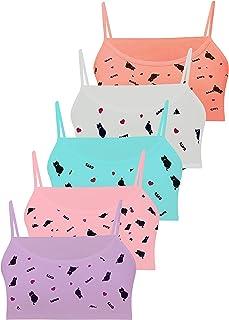 LOREZA ® 5 Sujetador Bustier para Niñas Ropa Interior Camiseta de Tirantes - Algodón - 10 a 15 años
