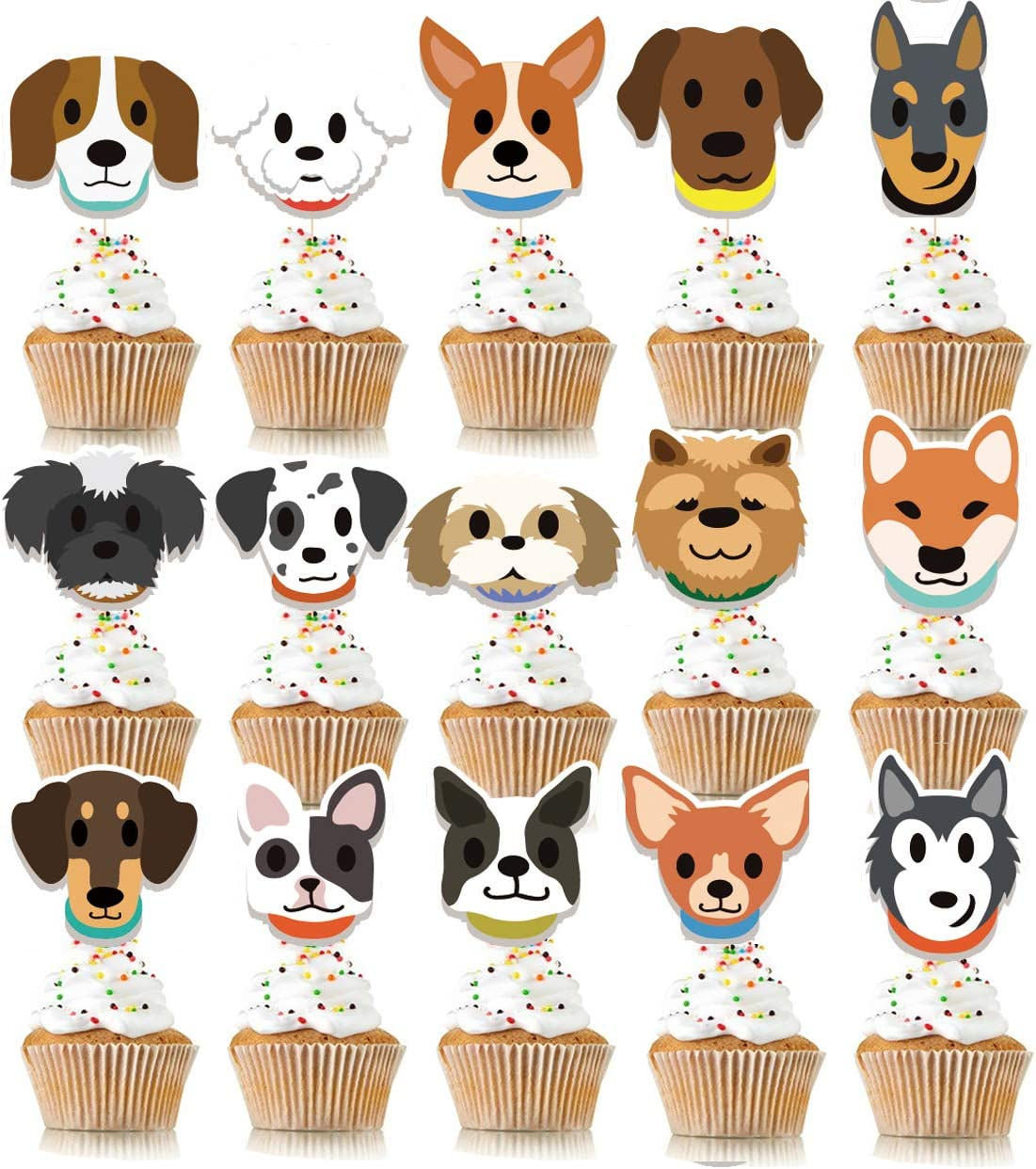 Puppy Dog Cupcake Toppers Puppy Party Decor Puppy Party Dog Adoption Party Puppy Cupcake Toppers