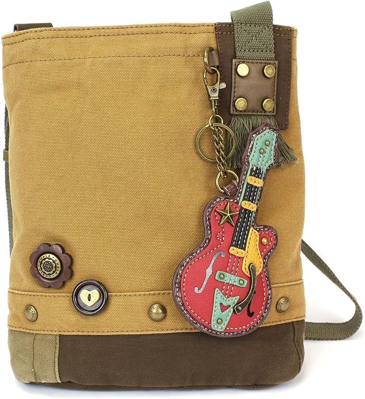 Chala Womens' Canvas Patch Crossbody Handbag Guitar   Brown