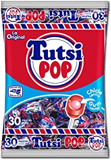 Tutsi Pop Tutsi Pops La Original Mexican Candy Pops with Cherry Flavor with Tutti Frutti Gum Center, 30 Paletas - 21.2 Oz