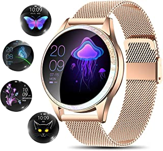 YOCUBY Smart Watch for Women,Bluetooth Fitness Tracker Compatible with iPhone,Android Phone, Female Sport Smartwatch Calorie Counter Pedometer, Lady Activity Tracker with Sleep Monitor, Heart Rate