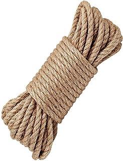 LUOOV 100% Natur Hanf Cord Seilen 6 mm Dicke und Starke Jute Seil Band, Camping Seil, Garten, Wassersport, Tauziehen, Haustiere, Kletterseil, Mehrzweck-Sisal Twine Rope, 10 Mio. 32ft -40 m 128ft