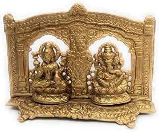 athizay Lakshmi Ganesh Idols 12 cm Tall Antique Gold Finish Texture Engraved Darbar for Diwali Pujan God Idols and Home Decoration (Gold)