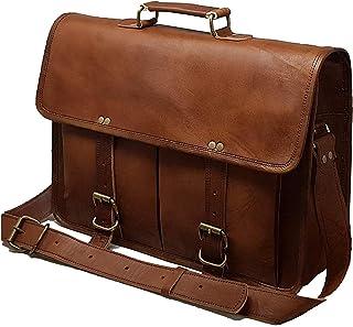 """17"""" Leather Messenger Bag Laptop case Office Briefcase Men Computer Distressed Shoulder Bag"""