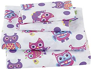 Mk Collection Sheet Set Owl Purple Pink Green White # Owl White New (Twin)