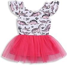 HappyMA Infant Toddler Kids Baby Girls Dress Dinosaur Tulle Tutu Sleeveless Skirt Clothes Set