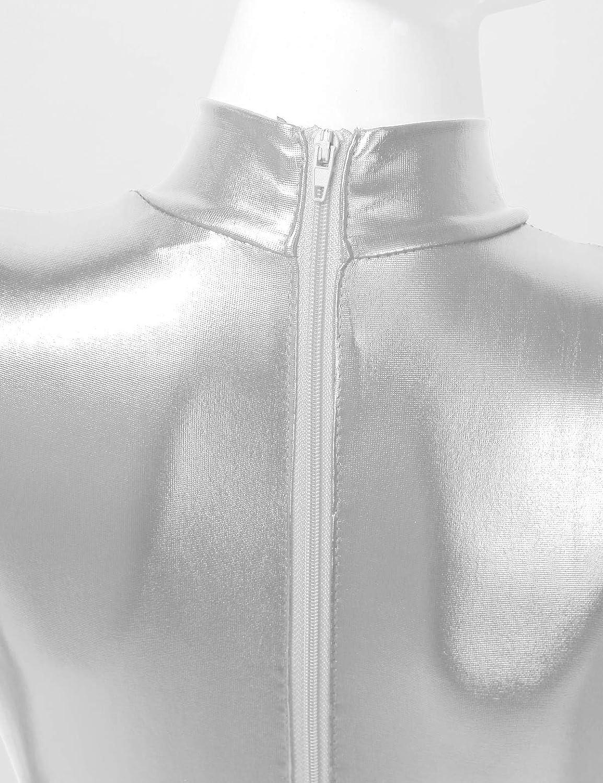 YiZYiF Kids Boys Girls Metallic Spandex Stirrup Dance Unitards Turtleneck Long Sleeve Full Body Jumspuit Cosplay Costume