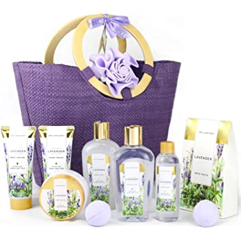 Spa Luxetique Gift Baskets for Women, Lavender Bath Set, Gift Set for Women, Christmas Gifts for Women, Luxury 10 Pcs Home Spa Kit with Bath Bombs, Body Lotion, Bubble Bath, Beauty Gifts for Women.