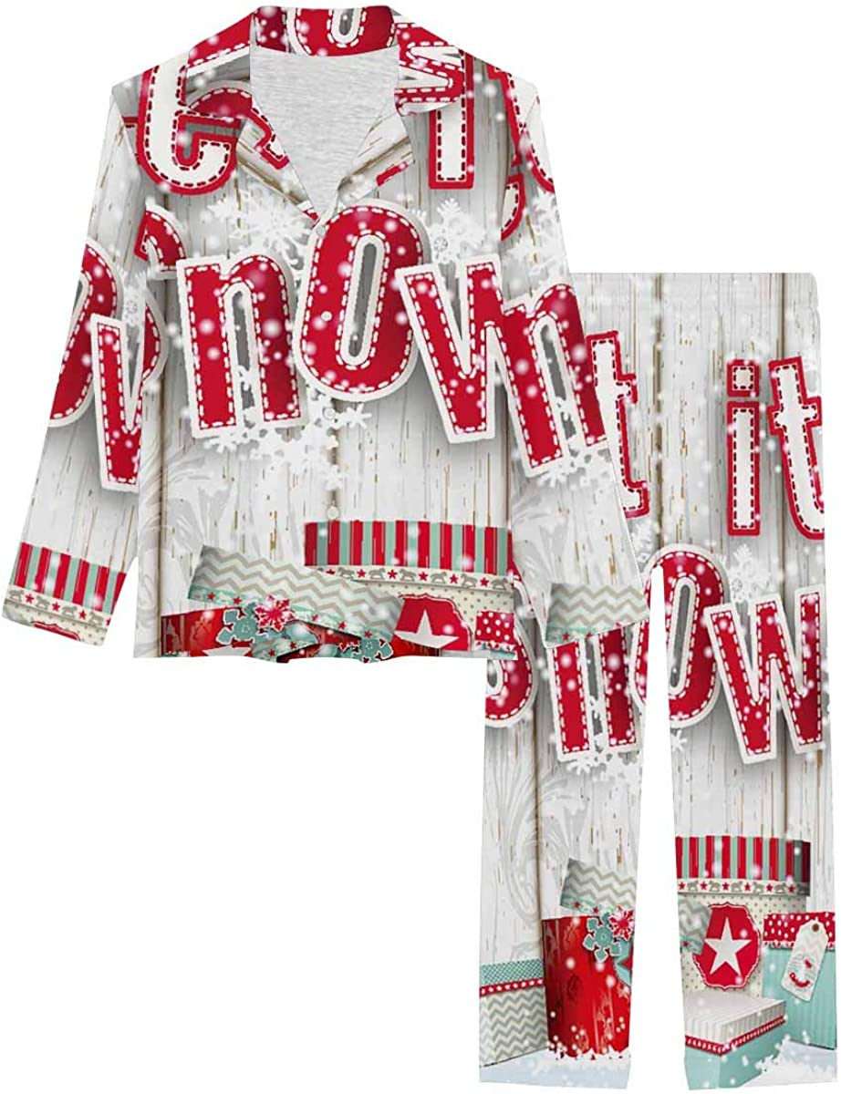 InterestPrint Women's Pajamas Set Long Sleeve with Long Pants XS-XXL Red Text on White Wooden Background