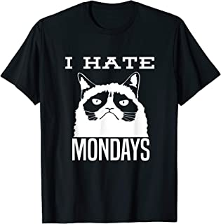 I HATE MONDAYS T-Shirt with a Fat Cat Frowning Tee
