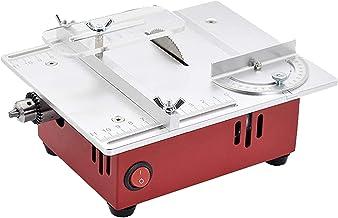 Sierra de mesa portátil de sobremesa, Mini sierra de mesa de escritorio, máquina de corte eléctrica Puleradora de pulidor, ajuste de siete velocidades, corte de múltiples ángulos para tablero de brico