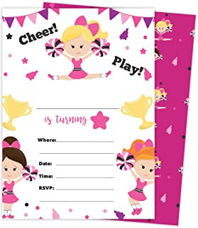 Cheerleading 2 Happy Birthday Invitations Invite Cards (25 Count) With Envelopes and Seal Stickers Vinyl Girls Kids Party (25ct)