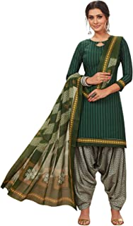 S Salwar Studio Women's Dark Green & White Cotton Printed Readymade Salwar Suit Set(SSCOLOURFUL-334_Green_L,XL,XXL)