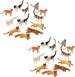 Plastic Cat Figures 24 Count - 2 Assorted Styles - 2 Packs of 12 Each