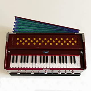 Harmonium Musical Instrument, Maharaja Musicals, In USA, 9 Stops, 3 1/2 Octave, Double Reed, Coupler, Dark Mahogany, Standard, Padded Bag, A440 Tuned, Blemished, Harmonium Indian Sangeeta (GSB-DC)