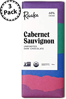 Raaka Chocolate Cabernet Sauvignon Dark Chocolate 66% Cacao (1.8oz Bar - 3 Pack), Organic, Non-GMO, Kosher Premium Craft Chocolate, Vegan, Gluten and Soy Free, Bittersweet, Bean-to-Bar Dark Chocolate